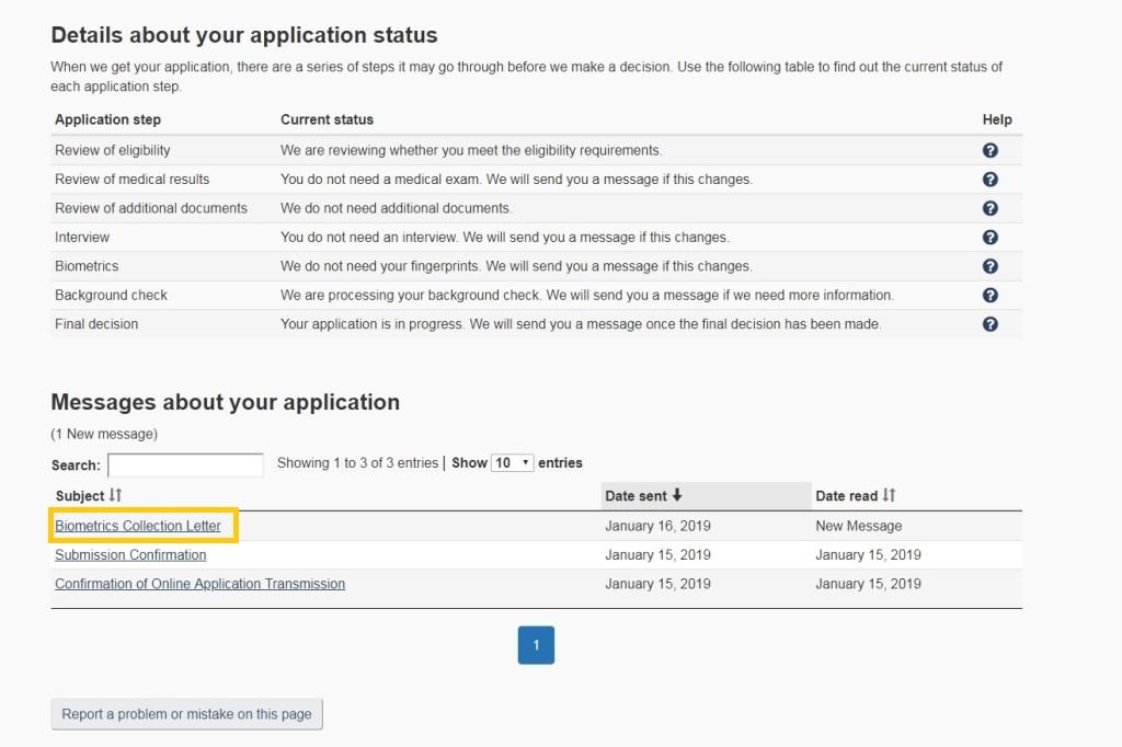 カナダのバイオメトリクス予約フローP0-Application Status