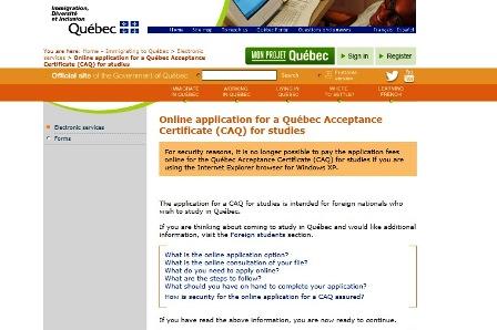 ケベック州政府ウェブサイト